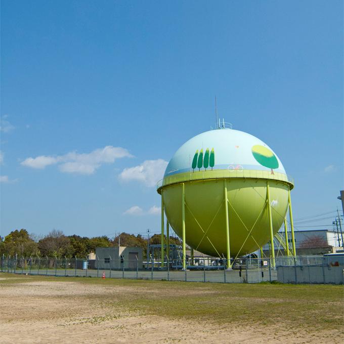 ガスホルダーペイント - 山口合同ガスについて - ひとにやさしい、まちにやさしい、都市ガス 山口合同ガス株式会社